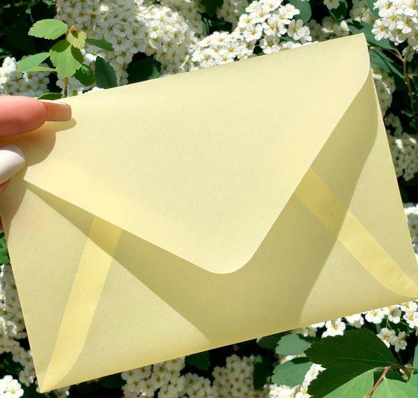 Конверт из кальки С6 для пригласительных на свадьбу цена