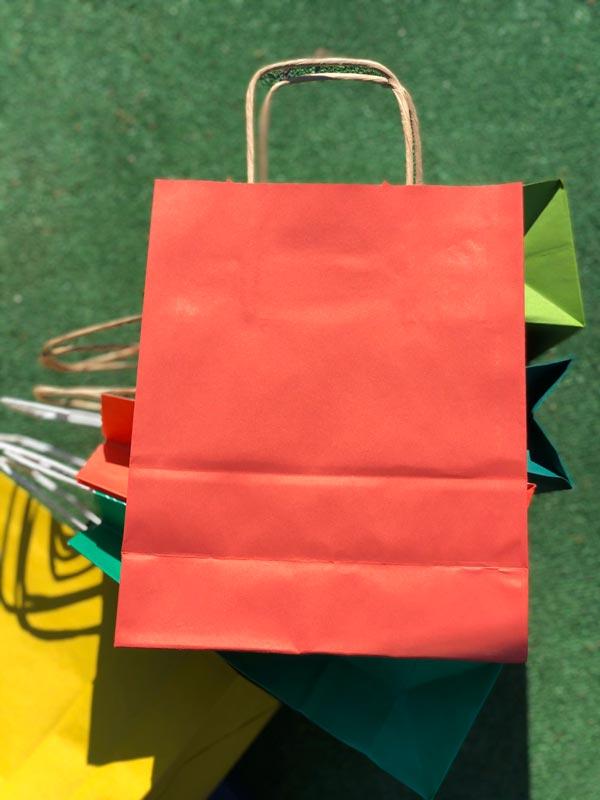купить оптом Пакет бумажный с ручками цветной