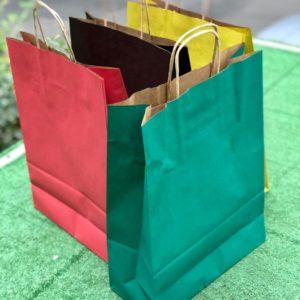 Цветные бумажные пакеты с ручками малые купить