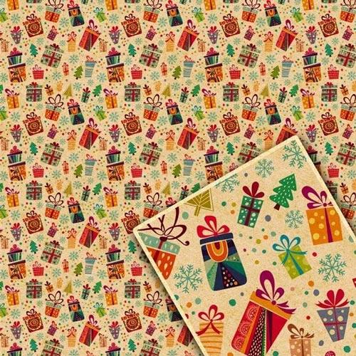 купить Крафтовая бумага для новогодних подарков