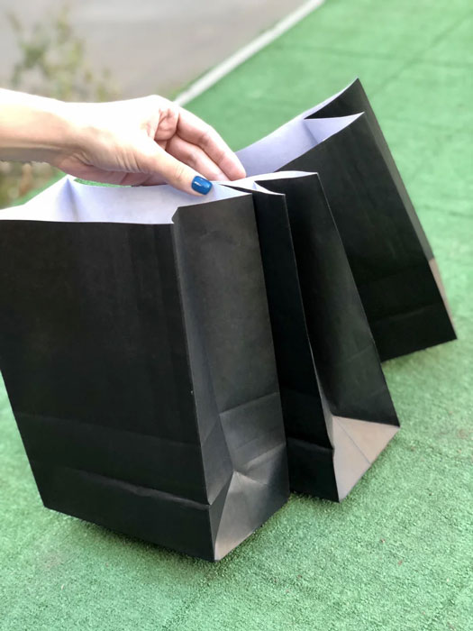 крафтовый черный пакет без ручек купить